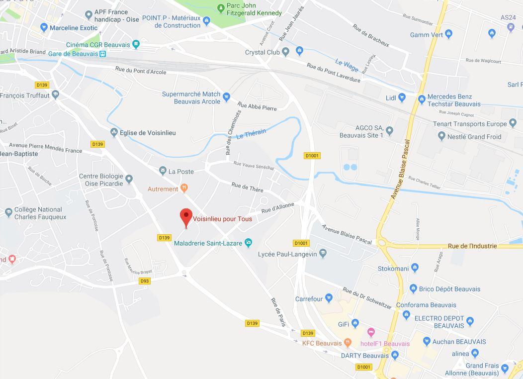 Plan d'accès à Voisinlieu Pour Tous