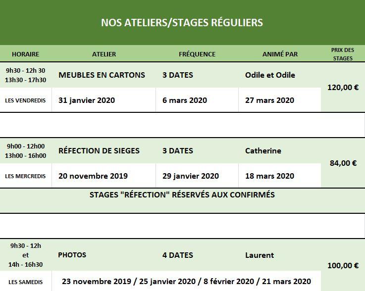 Dates & tarifs des stages