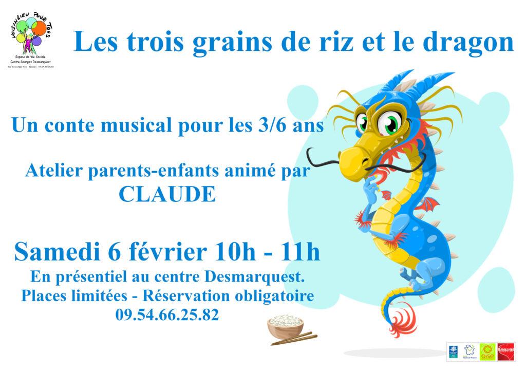 Affiche du conte musicale Les 3 grains de riz et le dragon.