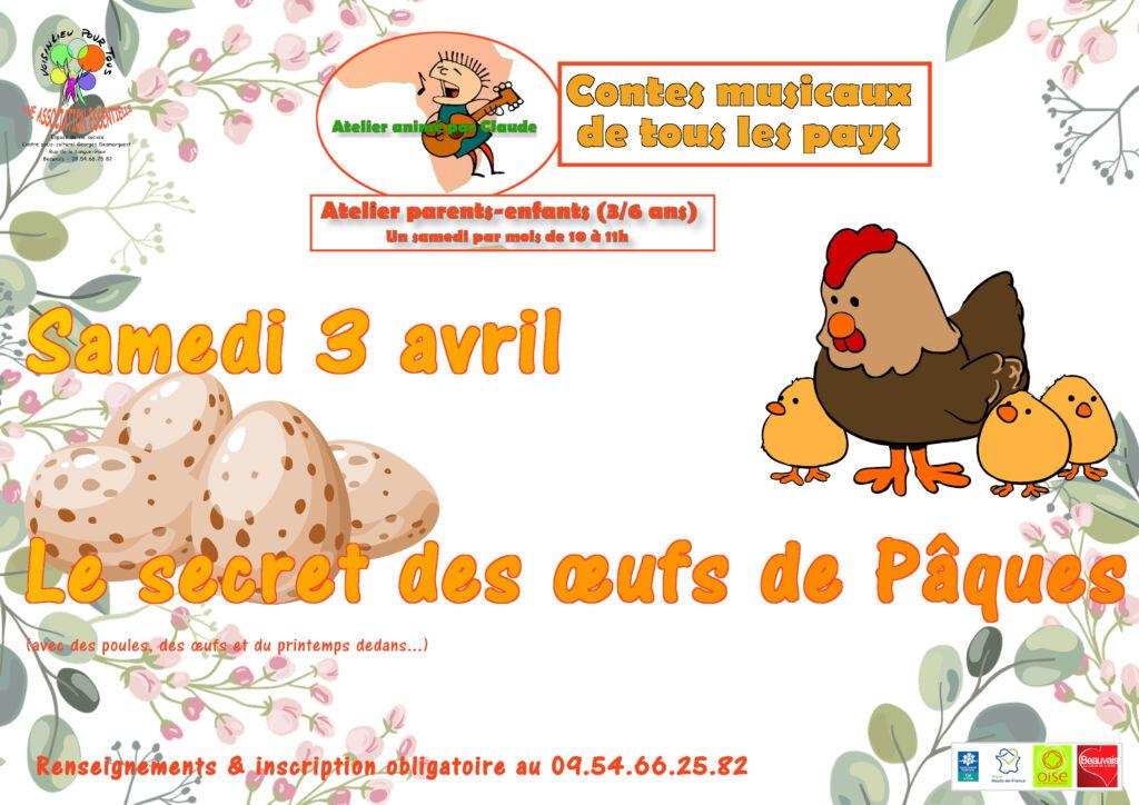 Affiche pour le conte musical du 2 avril 2021 : Le secret des œufs de Pâques.