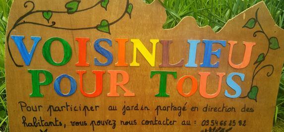 panneau du jardin partagé de Voisinlieu Pour Tous