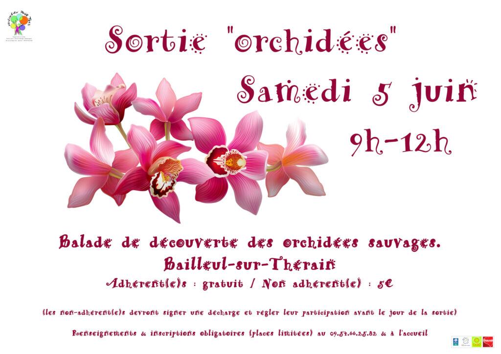 Affiche de la sortie de découverte des orchidées sauvages, le samedi 5 juin 2021.