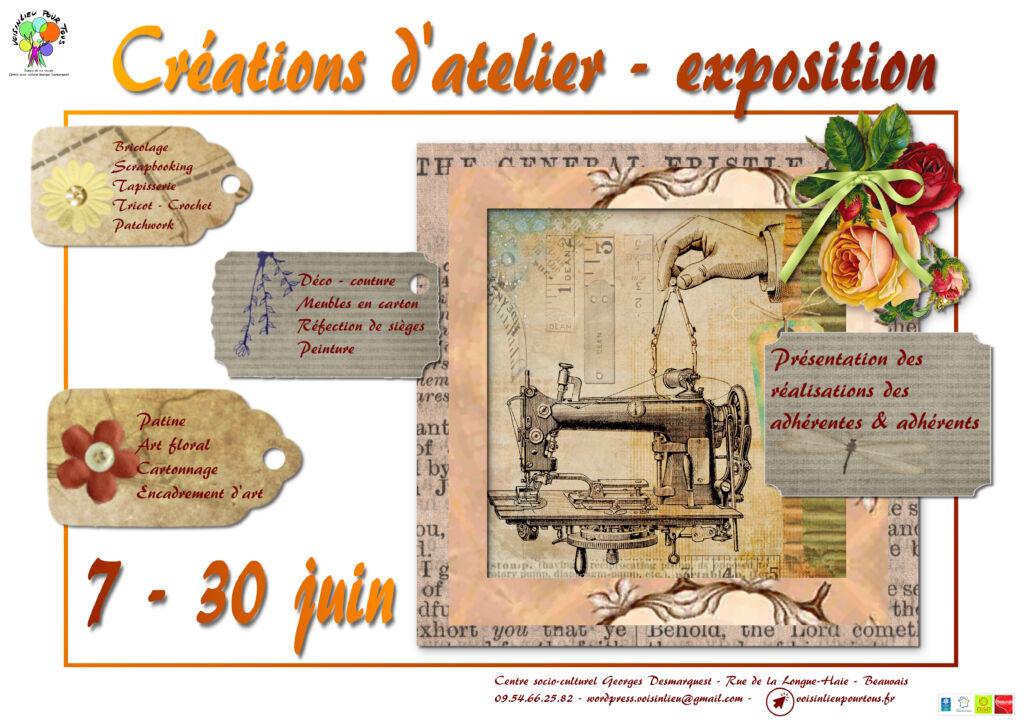 Affiche de l'exposition des créations d'atelier des adhérentes et adhérents de Voisinlieu Pour Tous.